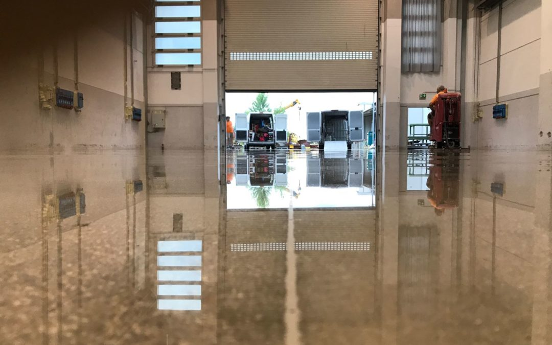 Grinding and polishing service on concrete floor – Vicenza, Italy