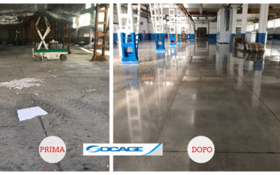Grinding and polishing service on concrete floor – Modena, Italy