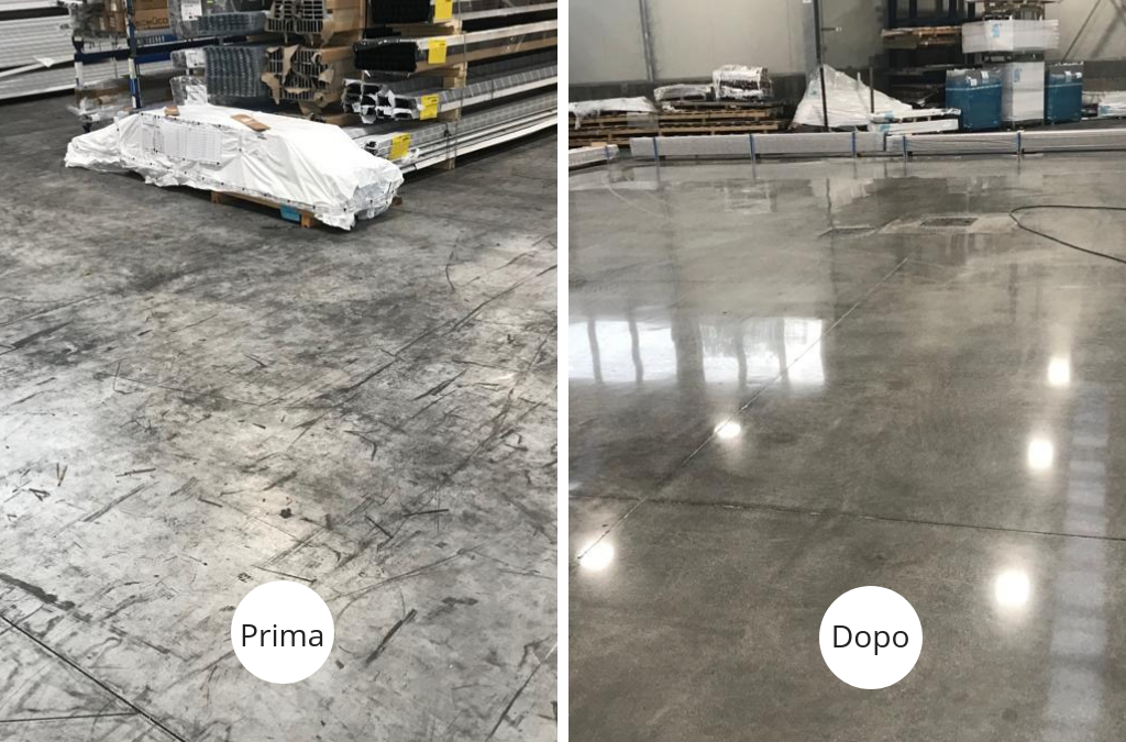 Grinding and polishing service on concrete floor – Milan, Italy